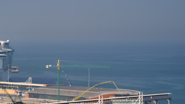 WS PAN View of ship near docks / Malaga, Andalusia, Spain