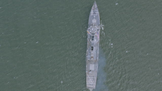 """ws ha aerial view of ship / new york city, united states"" - warship stock videos & royalty-free footage"