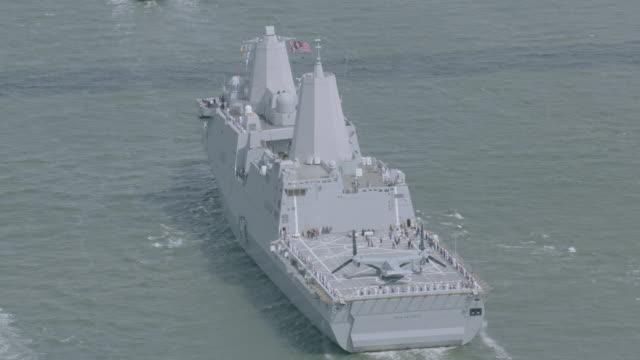 'MS POV ZO HA AERIAL View of ship / New York City, United States'