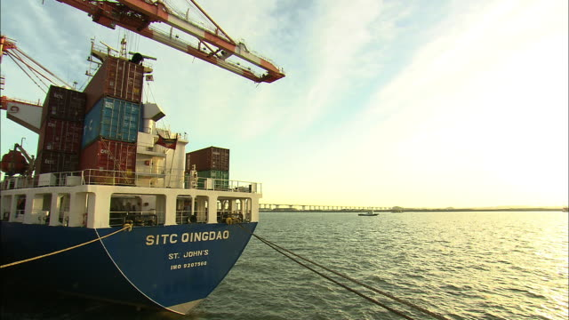 view of shipping container at dangjin port - orthographic symbol stock videos and b-roll footage