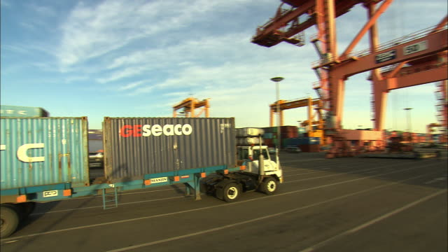 view of shipping container at dangjin port with dump truck - orthographic symbol stock videos and b-roll footage
