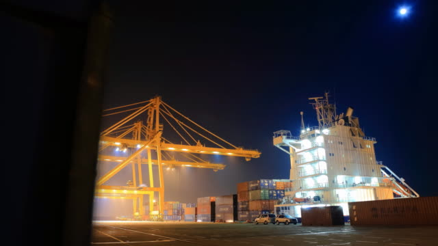 view of shipping the cargo containers at incheon harbor in incheon, korea at night - porter stock videos & royalty-free footage