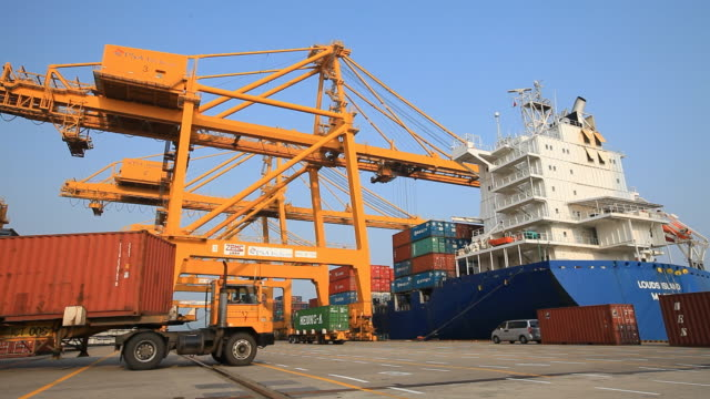 View of shipping the cargo containers at Incheon Harbor in Incheon