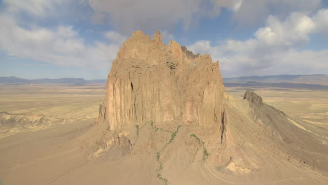 WS AERIAL View of Shiprock and top of rock / New Mexico, United States