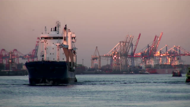 ws view of shipyard and ship floating in river / hamburg, hamburg, germany - schiffswerft stock-videos und b-roll-filmmaterial