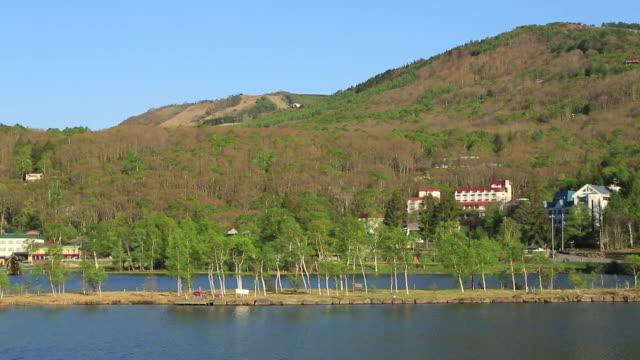 WS PAN View of Shirakaba lake, lake of Betula pendula / Chino, Nagano Prefecture, Japan