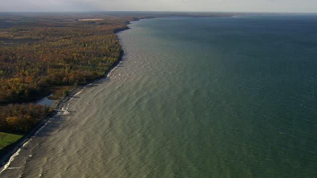 ws aerial view of shoreline of lake ontario / new york, united states - lake ontario bildbanksvideor och videomaterial från bakom kulisserna