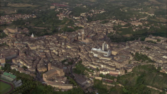 aerial, view of siena, piazza del campo, tuscany, italy - siena italy stock videos and b-roll footage