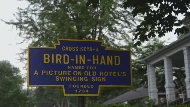 MS View of sign board at city / Bird-in-Hand, Pennsylvania, United States
