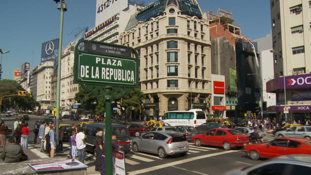 view of signboard in buenos aires, argentina - avenida 9 de julio stock videos & royalty-free footage