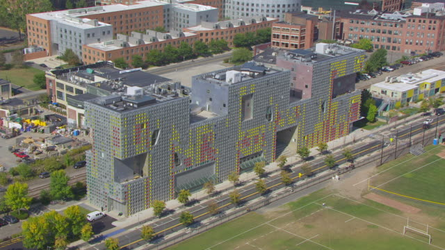 WS AERIAL POV View of Simmons Hall and Charles River with cityscape / Cambridge, Massachusetts, United States
