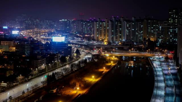 view of sincheon main street in daegu - daegu stock videos and b-roll footage