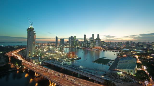 WS CS T/L View of Singapore's skyline at dusk / Singapore, Singapore City.