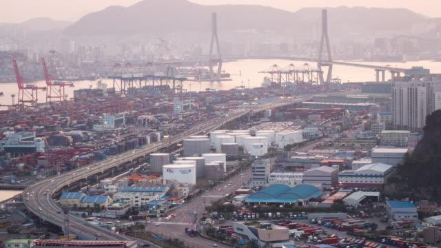 view of sinseondae dock and busan harbor bridge, busan, south korea - komplexität stock-videos und b-roll-filmmaterial