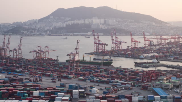 view of sinseondae dock, busan, south korea - freight transportation stock videos & royalty-free footage