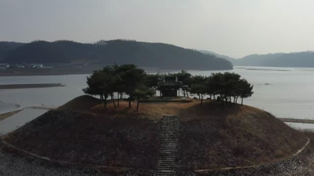 view of sisadan stele(built in memory of the confucian scholar teogye yi hwang) in andong, gyeongsangbuk-do, south korea - north gyeongsang province stock videos & royalty-free footage