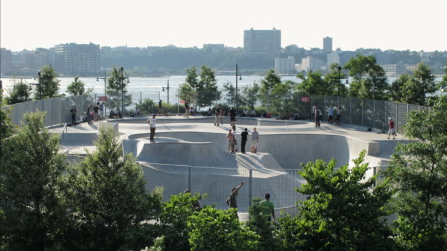 ws t/l view of skate park / new york, united states  - skateboard park stock videos & royalty-free footage