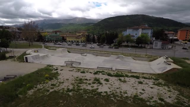 a view of skateboard park in piazza d'armi in l'aquila italy on may 7 2017 - skateboard park stock videos & royalty-free footage