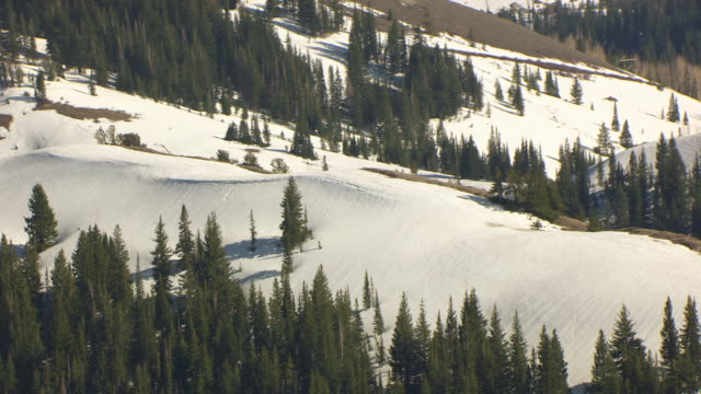MS AERIAL View of ski terrain with snow on mountain / Park City, Utah, United States