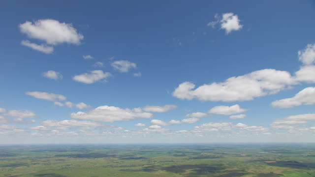 WS AERIAL TD View of Sky to grassland in Sheyenne National Grassland / North Dakota, United States