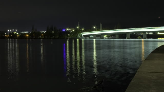 ws t/l pan view of skyline and bridge over lake burley griffin at night / canberra, australian capital territory, australia - canberra stock videos & royalty-free footage