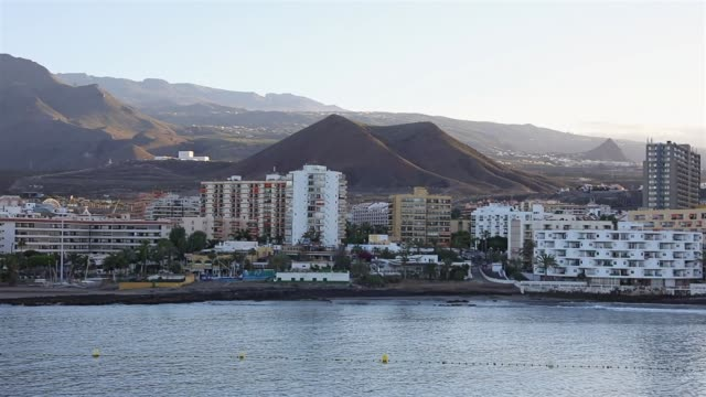 View of skyline Los Cristianos at dawn on Tenerife South / Canary Islands - Spain
