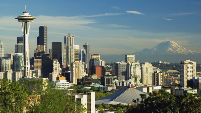 ws zo t/l view of skyline of downtown at seattle / seattle, washington, usa  - seattle stock-videos und b-roll-filmmaterial