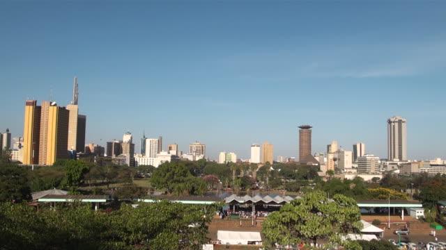 ws view of skyline of nairobi with kenyatta international conference center audio / nairobi, central, kenya   - nairobi stock videos and b-roll footage