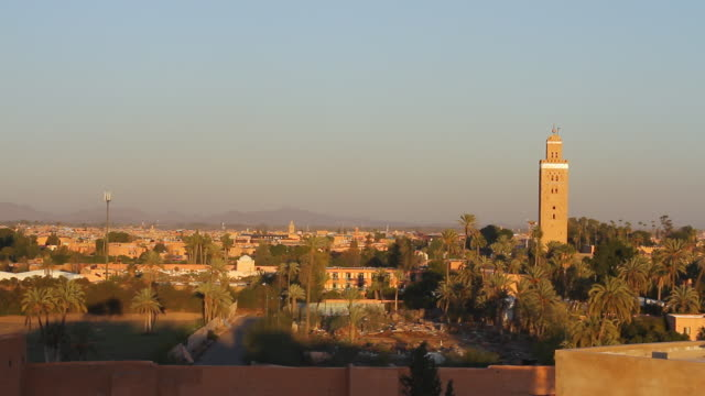 ws view of skyline with tall monument building / marrakech, tensift, morocco  - wiese stock videos & royalty-free footage