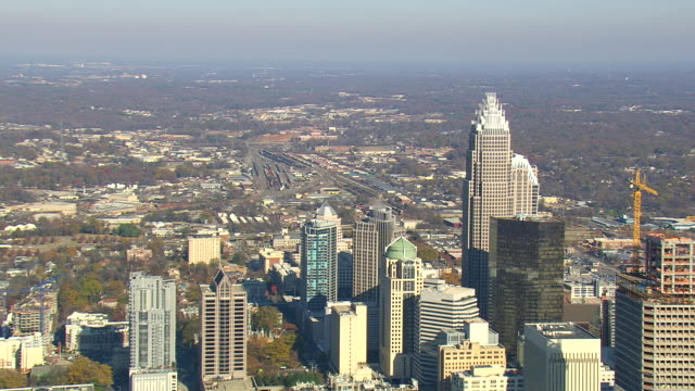 MS AERIAL ZO View of skylines in Charlotte city / North Carolina, United States