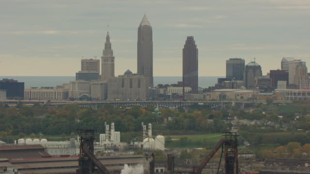 ms zo aerial view of skyscrapers and arcelor mittal steel plant / cleveland, ohio, united states - cleveland ohio stock videos & royalty-free footage