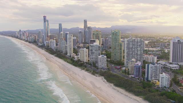 WS AERIAL View of skyscrapers and beach / Brisbane, Victoria, Australia