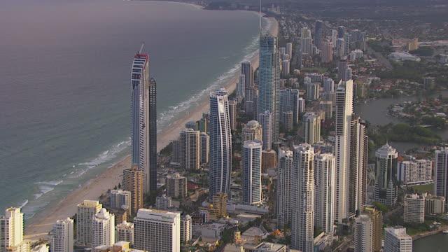 WS AERIAL ZI DS View of skyscrapers and beach / Brisbane, Victoria, Australia