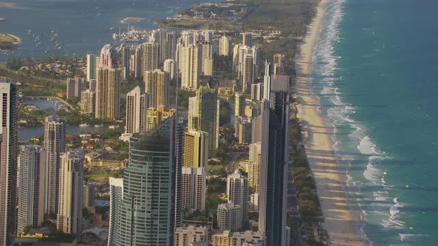 WS AERIAL ZI ZO View of skyscrapers and beach / Brisbane, Victoria, Australia