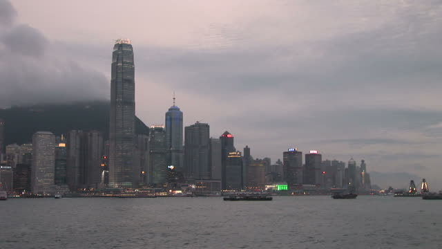 View of skyscrapers at magic hour in Hong Kong China