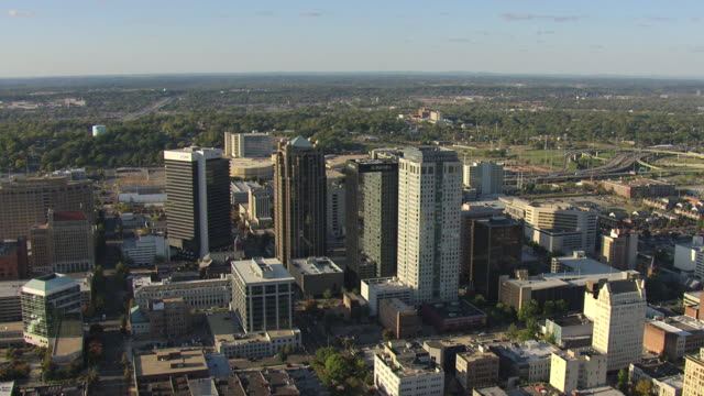ws aerial view of skyscrapers downtown / birmingham, alabama, united states - birmingham alabama video stock e b–roll