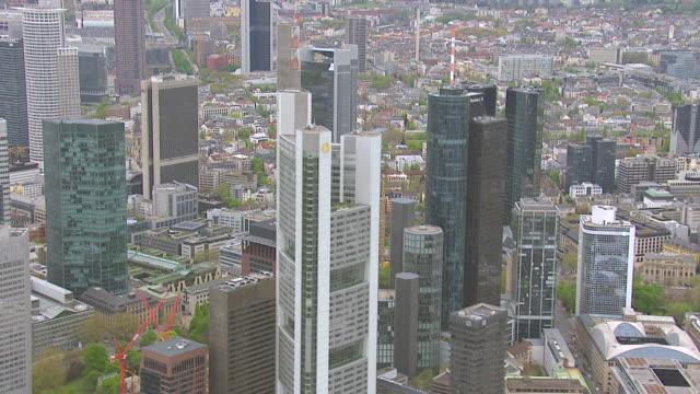 MS AERIAL View of skyscrapers in city / Frankfurt Main, Hesse, Germany