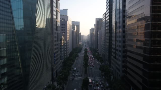 view of skyscrapers in gangnam-gu district, seoul, south korea - after work stock videos & royalty-free footage
