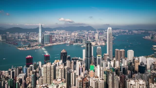 vídeos de stock e filmes b-roll de t/l ws ha view of skyscrapers in hong kong / hong kong, china - plano picado