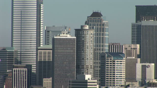 view of skyscrapers in seattle united states - washington mutual tower stock videos & royalty-free footage
