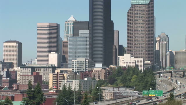 view of skyscrapers in the city of seattle united states - washington mutual tower stock videos & royalty-free footage