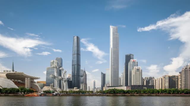 t/l ws zo view of skyscrapers in zhujiang new town / guangzhou, china - guangzhou stock videos & royalty-free footage