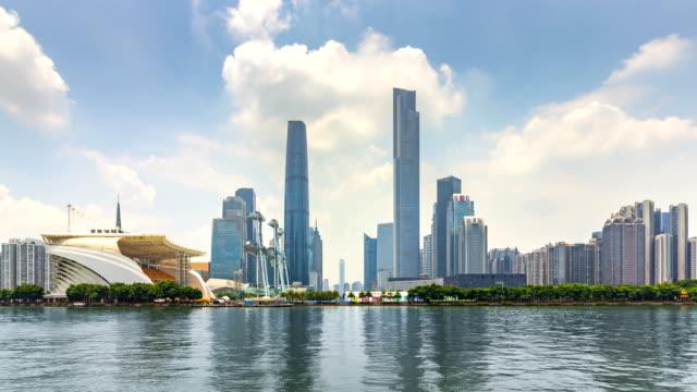 view of skyscrapers in zhujiang new town / guangzhou, china - guangzhou stock videos & royalty-free footage