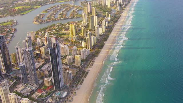 WS AERIAL View of skyscrapers with beach / Brisbane, Victoria, Australia