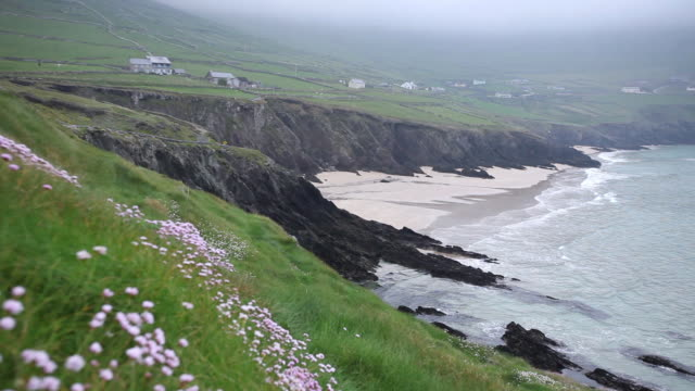 ws view of slea head and dingle peninsula / county kerry, ireland - establishing shot stock videos & royalty-free footage