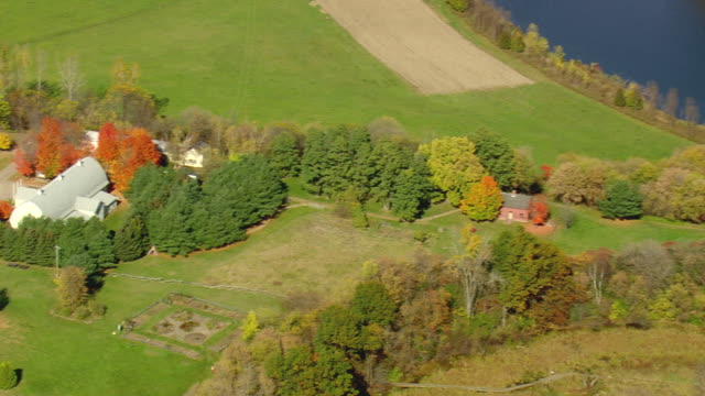 MS AERIAL ZO TS View of small houses surrounded by trees at near Winookski River / Vermont, United States
