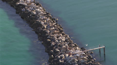 ws aerial zi view of small jetty / adelaide, south australia, australia - jetty stock videos & royalty-free footage