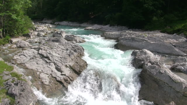 ms aerial view of small mountain river at rissbach / alps, bavaria, germany - fluss stock-videos und b-roll-filmmaterial