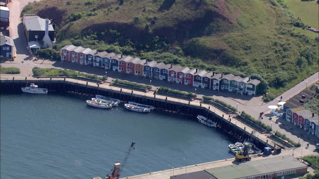 aerial ms view of small port / heligoland, schleswig-holstein, germany - helgoland stock videos & royalty-free footage