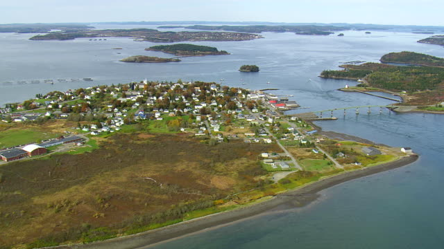 WS AERIAL View of Small town at Campobello international park / New Brunswick, United States